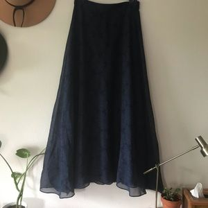 Navy Gap Maxi Skirt